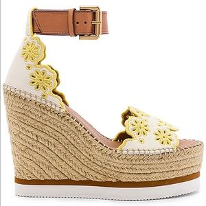 See by Chloe Glyn Wedge Sandal in Gesso Yellow 9
